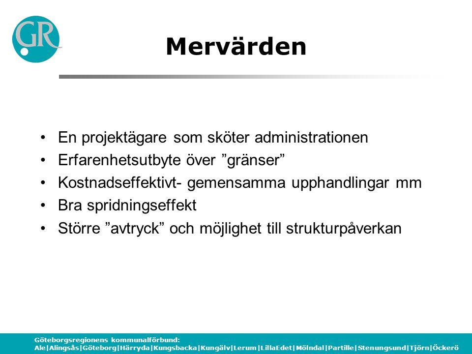 Göteborgsregionens kommunalförbund: Ale|Alingsås|Göteborg|Härryda|Kungsbacka|Kungälv|Lerum|LillaEdet|Mölndal|Partille|Stenungsund|Tjörn|Öckerö Mervärd