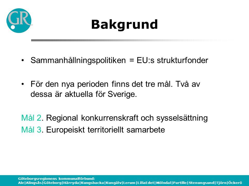 Göteborgsregionens kommunalförbund: Ale|Alingsås|Göteborg|Härryda|Kungsbacka|Kungälv|Lerum|LillaEdet|Mölndal|Partille|Stenungsund|Tjörn|Öckerö Utgångspunkter Enligt EU:s förordningar ska strategier på tre nivåer tas fram Europeisk strategi (juli 06) Nationell strategi (jan 07) Regional strategi (regionalfond) (okt 06) Nationell strategi (socialfonden) (mars 07) Regional strategi (socialfond) (våren 07)