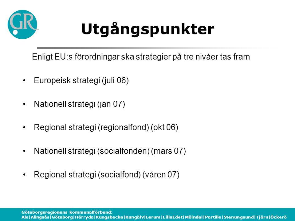 Göteborgsregionens kommunalförbund: Ale|Alingsås|Göteborg|Härryda|Kungsbacka|Kungälv|Lerum|LillaEdet|Mölndal|Partille|Stenungsund|Tjörn|Öckerö socialfonden c:a 6,1 miljarder sek EU-pengar 07-13