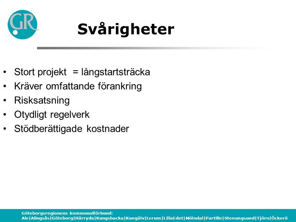 Göteborgsregionens kommunalförbund: Ale|Alingsås|Göteborg|Härryda|Kungsbacka|Kungälv|Lerum|LillaEdet|Mölndal|Partille|Stenungsund|Tjörn|Öckerö Svårigh