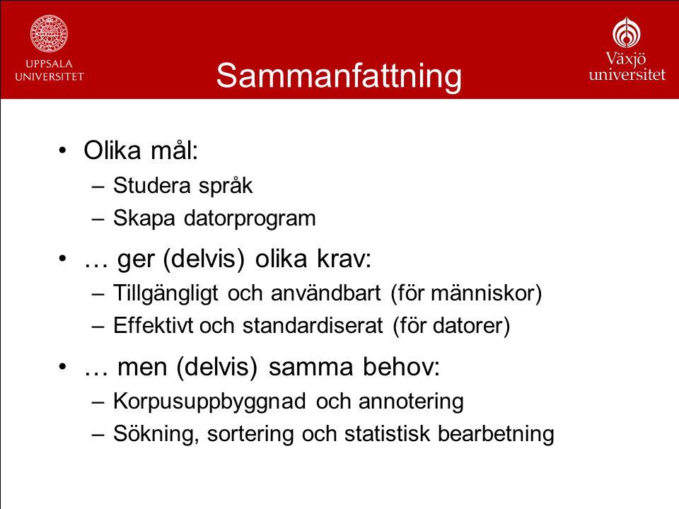 Sammanfattning Olika mål: –Studera språk –Skapa datorprogram … ger (delvis) olika krav: –Tillgängligt och användbart (för människor) –Effektivt och st