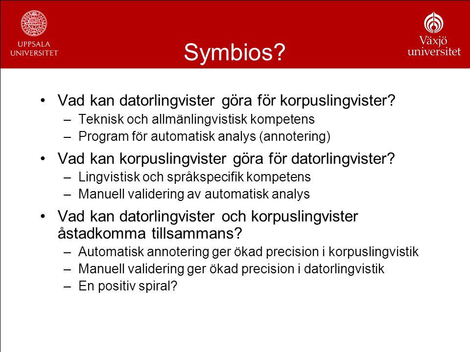 Symbios? Vad kan datorlingvister göra för korpuslingvister? –Teknisk och allmänlingvistisk kompetens –Program för automatisk analys (annotering) Vad k