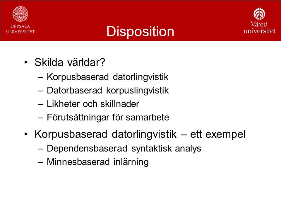 Disposition Skilda världar? –Korpusbaserad datorlingvistik –Datorbaserad korpuslingvistik –Likheter och skillnader –Förutsättningar för samarbete Korp