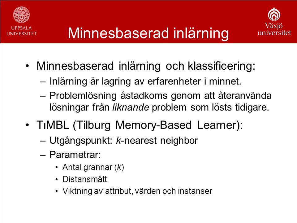 Minnesbaserad inlärning Minnesbaserad inlärning och klassificering: –Inlärning är lagring av erfarenheter i minnet. –Problemlösning åstadkoms genom at
