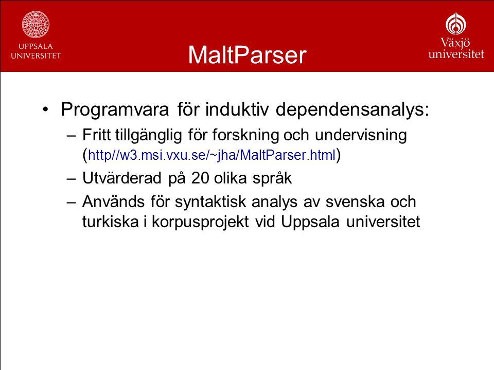 MaltParser Programvara för induktiv dependensanalys: –Fritt tillgänglig för forskning och undervisning ( http//w3.msi.vxu.se/~jha/MaltParser.html ) –U