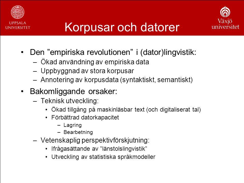 """Korpusar och datorer Den """"empiriska revolutionen"""" i (dator)lingvistik: –Ökad användning av empiriska data –Uppbyggnad av stora korpusar –Annotering av"""