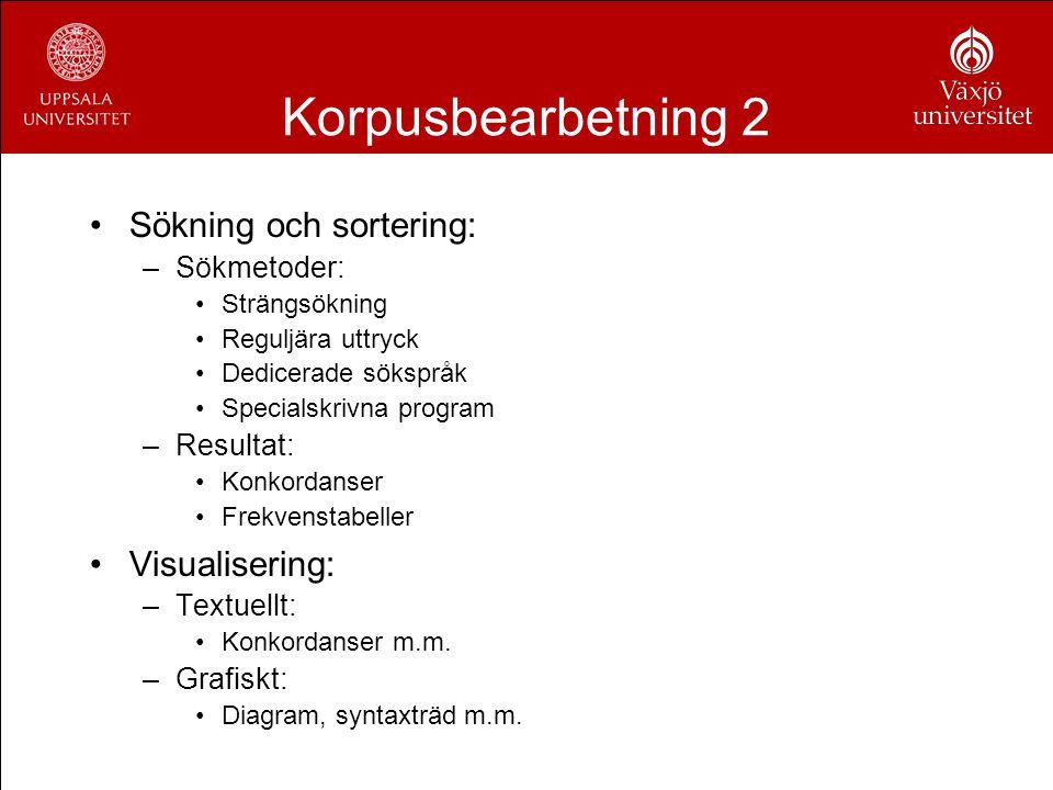 Korpusbearbetning 2 Sökning och sortering: –Sökmetoder: Strängsökning Reguljära uttryck Dedicerade sökspråk Specialskrivna program –Resultat: Konkorda
