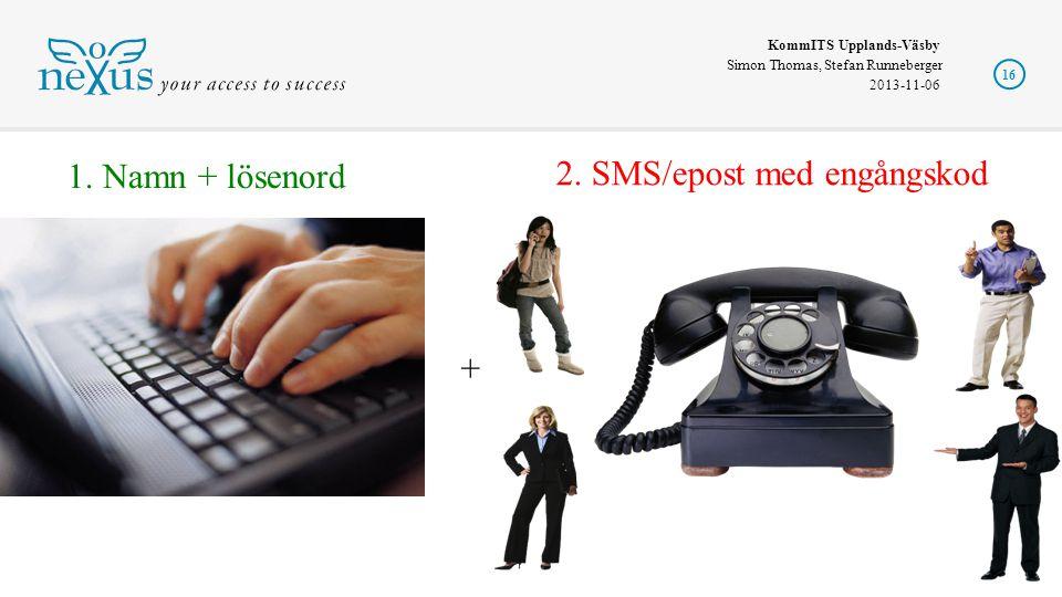 KommITS Upplands-Väsby Simon Thomas, Stefan Runneberger 2013-11-06 16 2. SMS/epost med engångskod + 1. Namn + lösenord