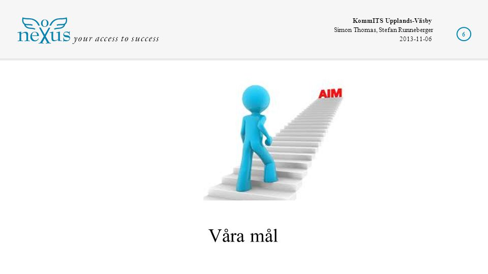 KommITS Upplands-Väsby Simon Thomas, Stefan Runneberger 2013-11-06 6 Våra mål