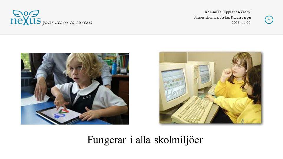 KommITS Upplands-Väsby Simon Thomas, Stefan Runneberger 2013-11-06 9 Fungerar i alla skolmiljöer
