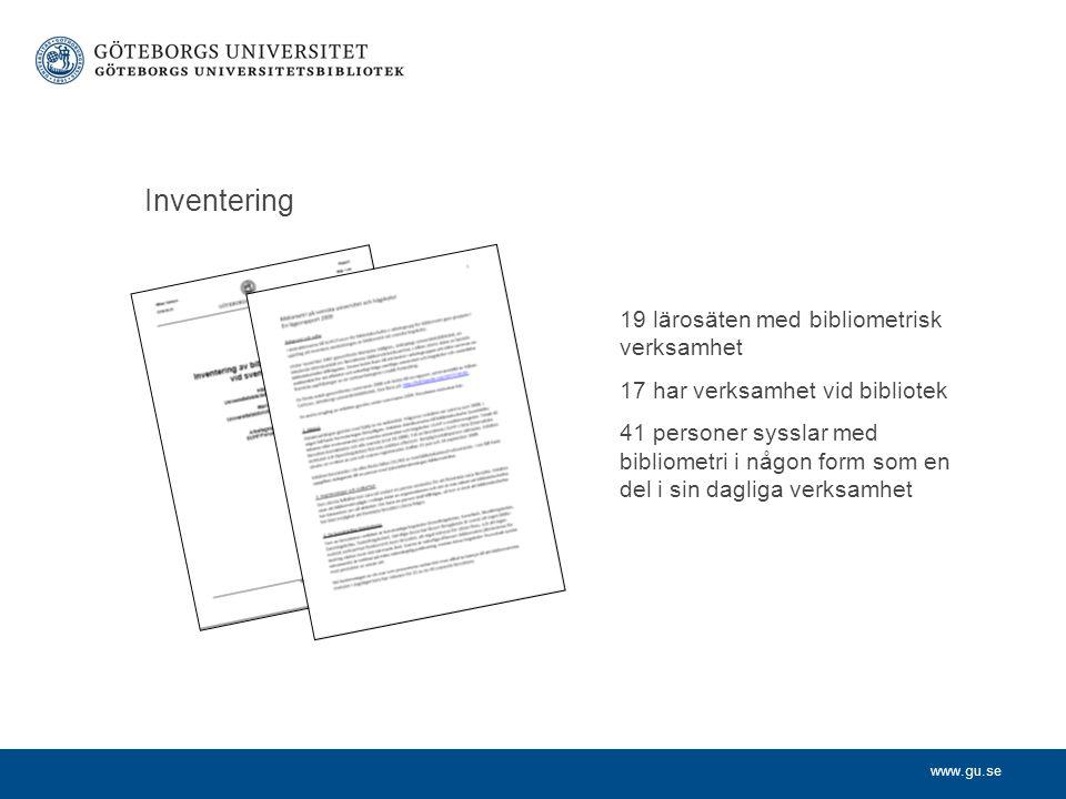 www.gu.se Nytt uppdrag Aktivt verka för samarbete med lärosätenas ledningarna Omvärldsbevaka bibliometriområdet för SUHF Erfarenhetsutbyte om bl.a.