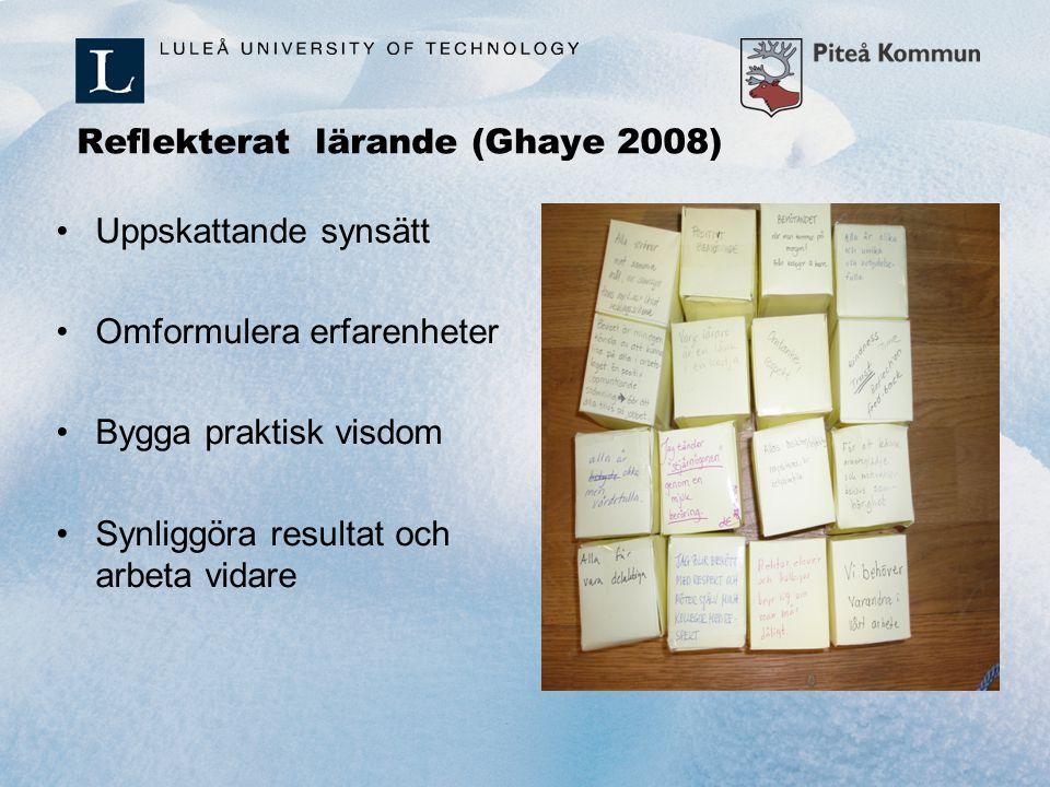 Reflekterat lärande (Ghaye 2008) Uppskattande synsätt Omformulera erfarenheter Bygga praktisk visdom Synliggöra resultat och arbeta vidare