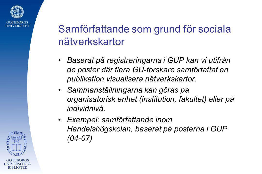 Samförfattande som grund för sociala nätverkskartor Baserat på registreringarna i GUP kan vi utifrån de poster där flera GU-forskare samförfattat en p
