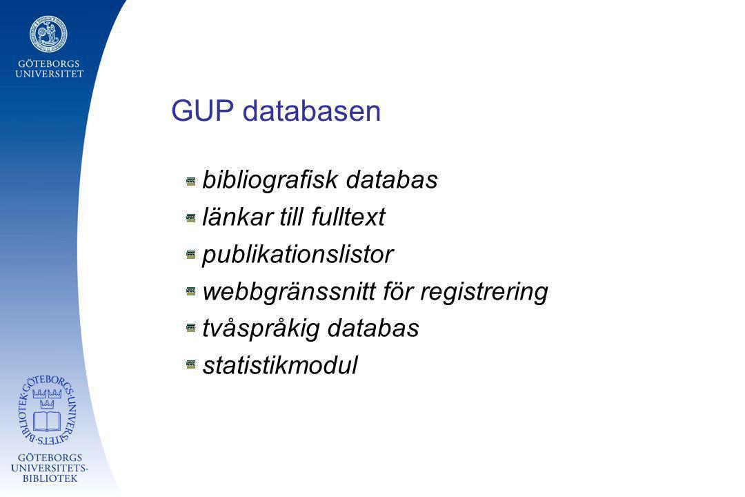 GUP databasen bibliografisk databas länkar till fulltext publikationslistor webbgränssnitt för registrering tvåspråkig databas statistikmodul