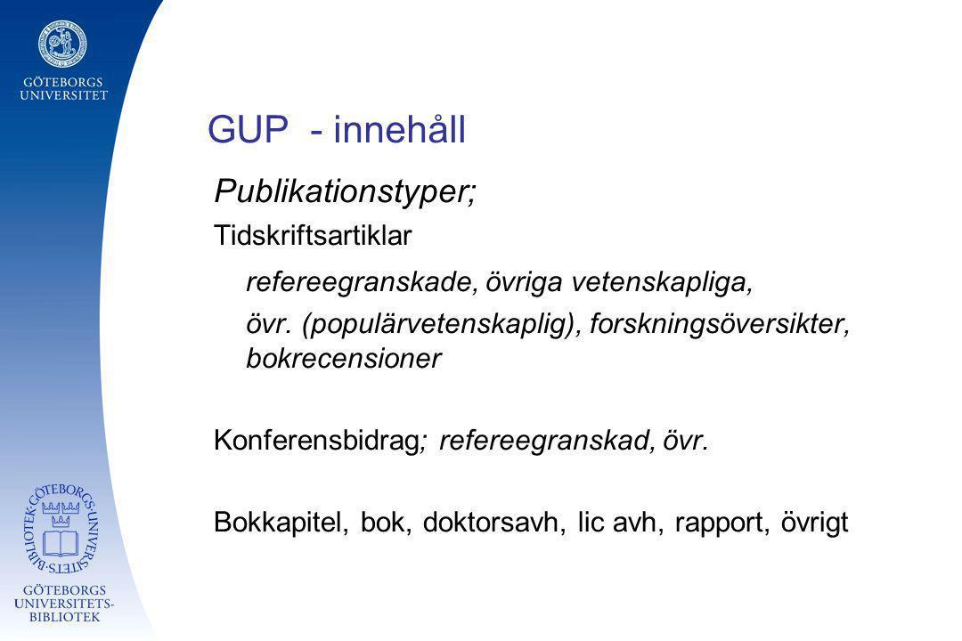 GUP - innehåll Publikationstyper; Tidskriftsartiklar refereegranskade, övriga vetenskapliga, övr. (populärvetenskaplig), forskningsöversikter, bokrece