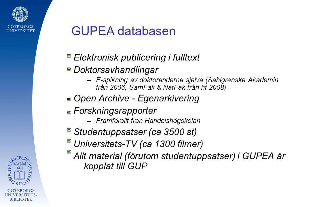 GUPEA databasen Elektronisk publicering i fulltext Doktorsavhandlingar –E-spikning av doktoranderna själva (Sahlgrenska Akademin från 2006, SamFak & N