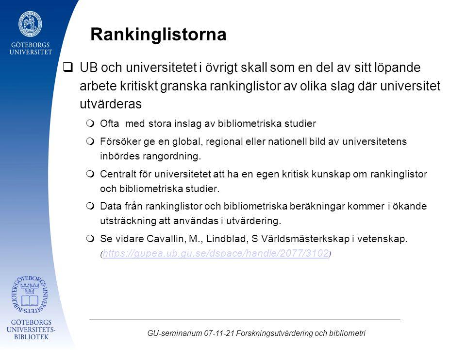 GU-seminarium 07-11-21 Forskningsutvärdering och bibliometri  UB och universitetet i övrigt skall som en del av sitt löpande arbete kritiskt granska