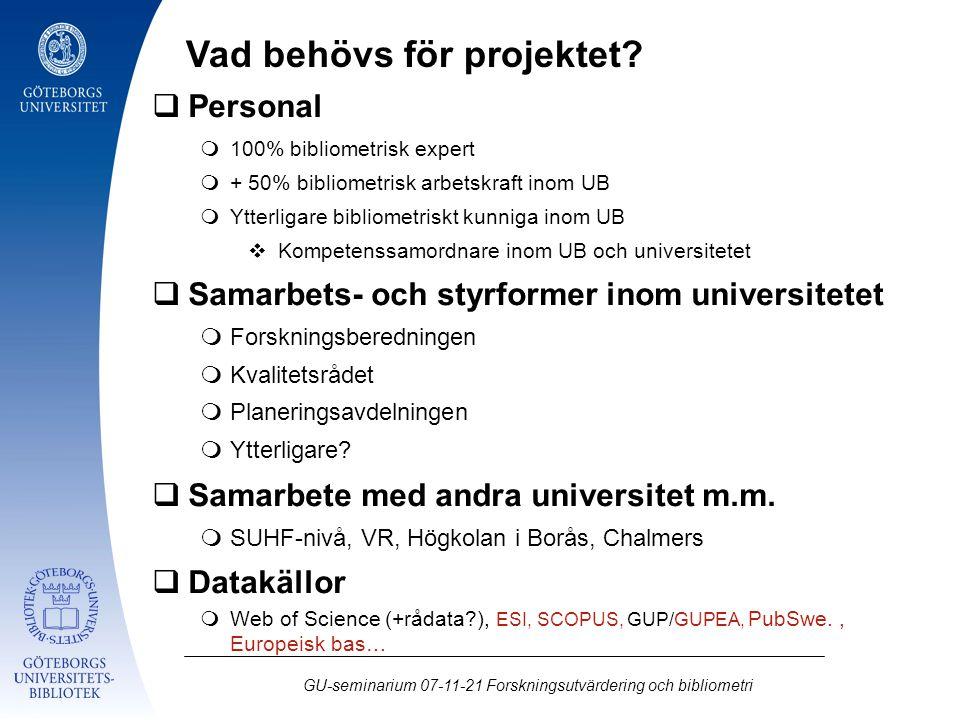 GU-seminarium 07-11-21 Forskningsutvärdering och bibliometri  Personal  100% bibliometrisk expert  + 50% bibliometrisk arbetskraft inom UB  Ytterl