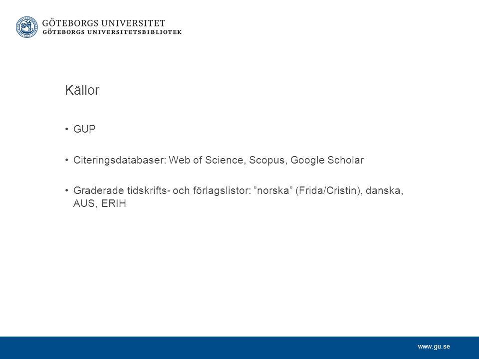 """www.gu.se Källor GUP Citeringsdatabaser: Web of Science, Scopus, Google Scholar Graderade tidskrifts- och förlagslistor: """"norska"""" (Frida/Cristin), dan"""