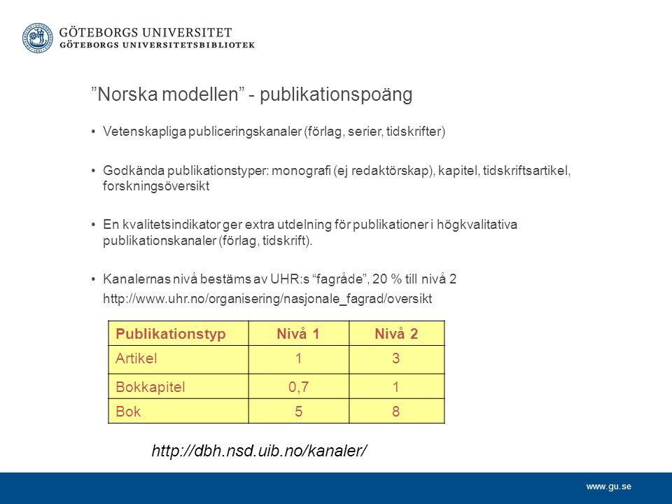 """www.gu.se """"Norska modellen"""" - publikationspoäng Vetenskapliga publiceringskanaler (förlag, serier, tidskrifter) Godkända publikationstyper: monografi"""