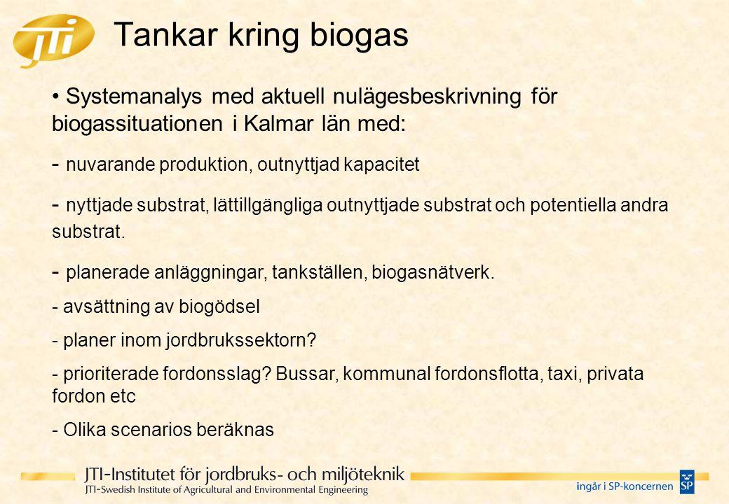 Tankar kring biogas Systemanalys med aktuell nulägesbeskrivning för biogassituationen i Kalmar län med: - nuvarande produktion, outnyttjad kapacitet -