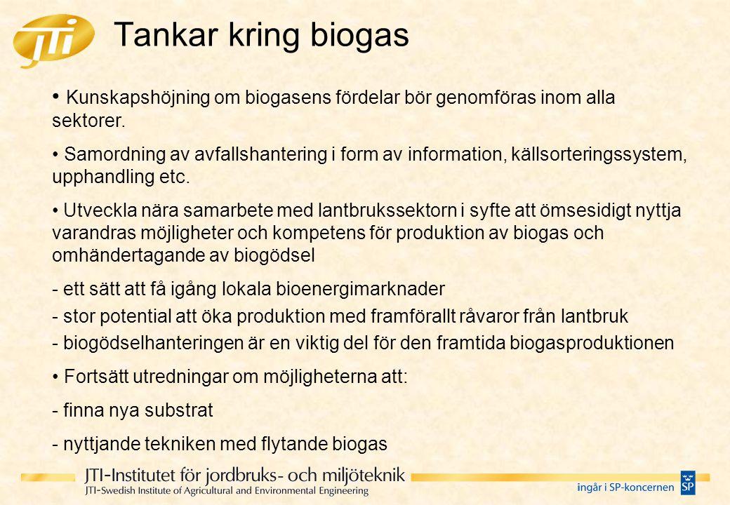 Tankar kring biogas Kunskapshöjning om biogasens fördelar bör genomföras inom alla sektorer. Samordning av avfallshantering i form av information, käl