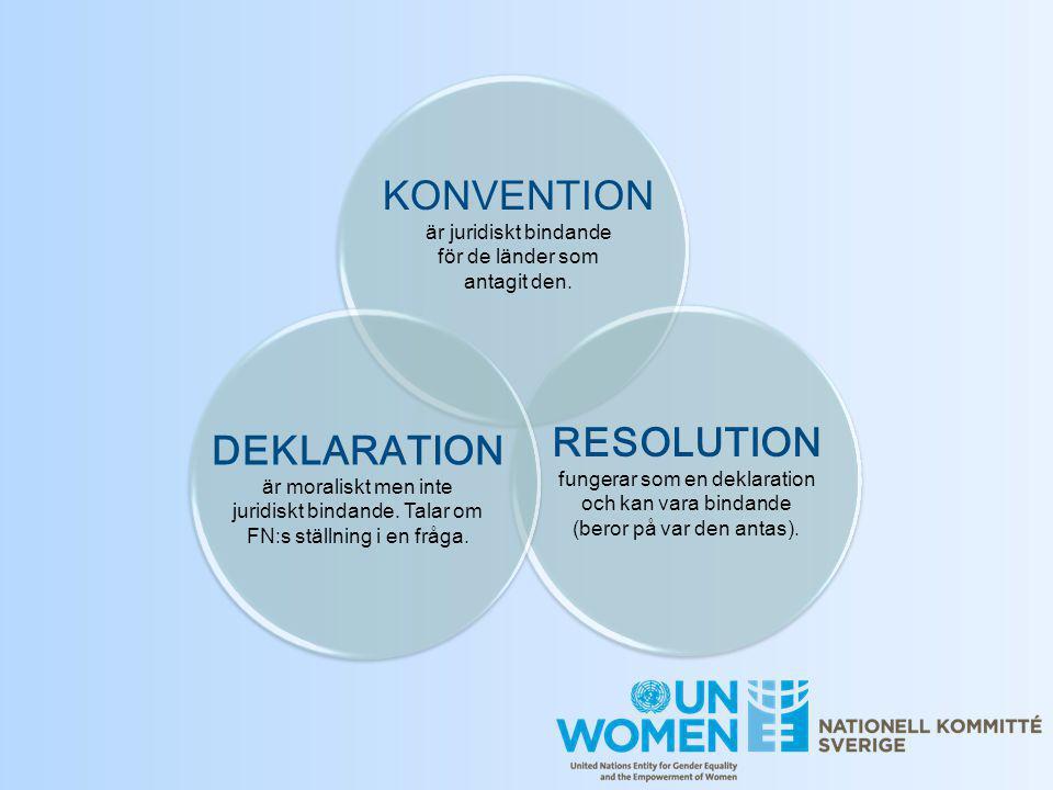KONVENTION är juridiskt bindande för de länder som antagit den. DEKLARATION är moraliskt men inte juridiskt bindande. Talar om FN:s ställning i en frå