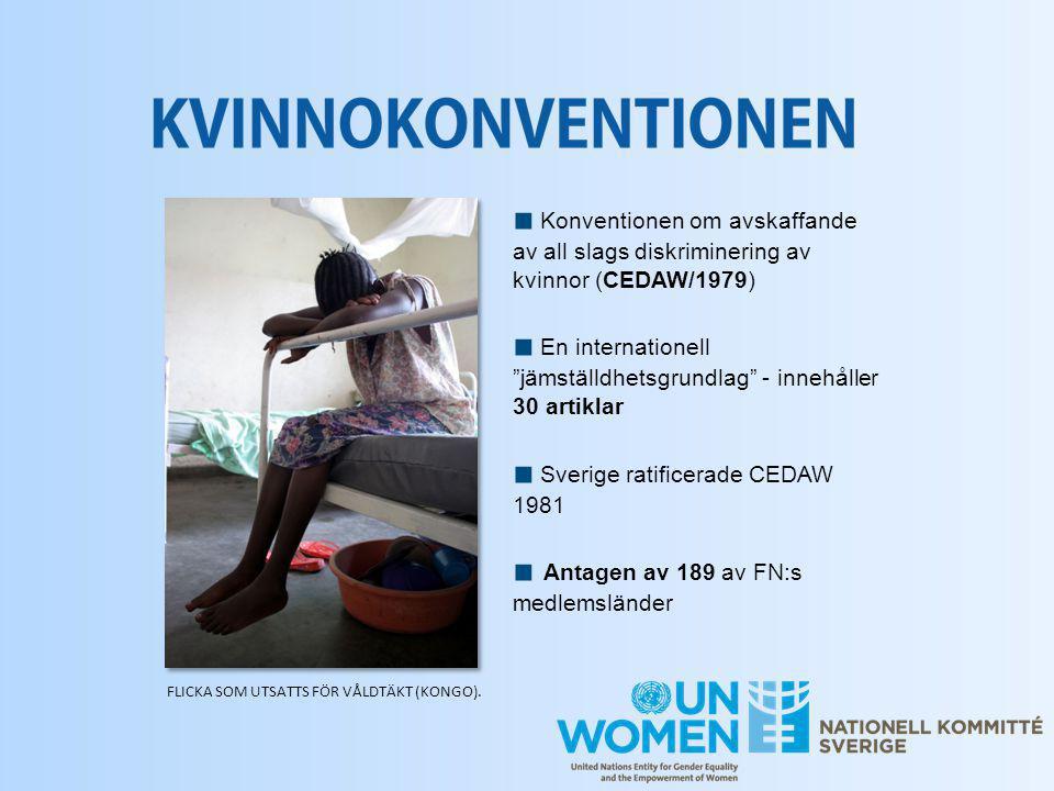 """■ Konventionen om avskaffande av all slags diskriminering av kvinnor (CEDAW/1979) ■ En internationell """"jämställdhetsgrundlag"""" - innehåller 30 artiklar"""