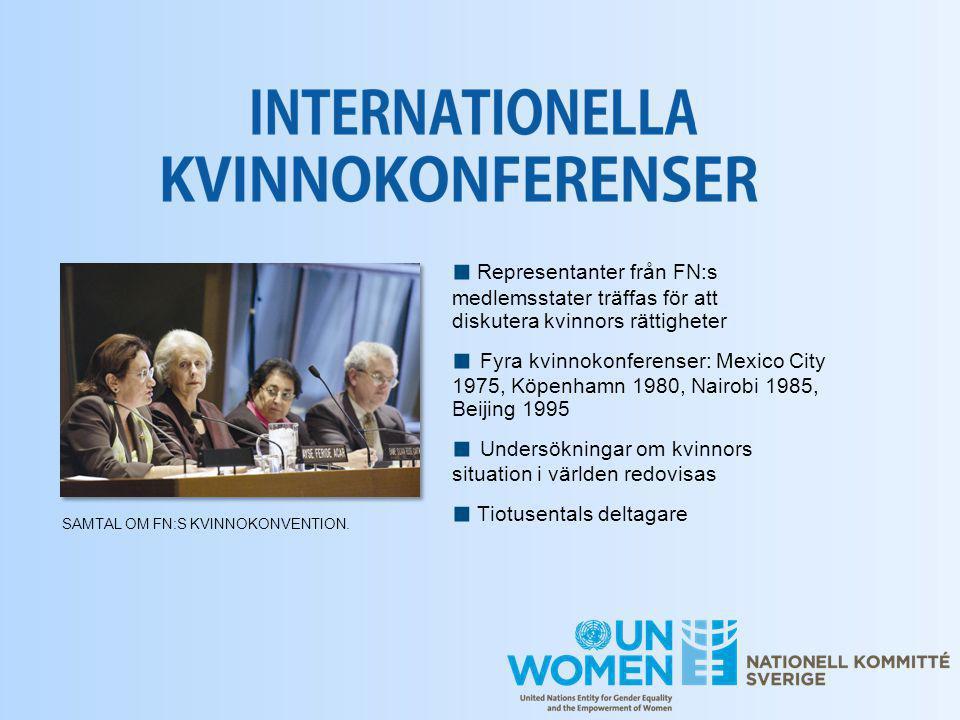 ■ Representanter från FN:s medlemsstater träffas för att diskutera kvinnors rättigheter ■ Fyra kvinnokonferenser: Mexico City 1975, Köpenhamn 1980, Na