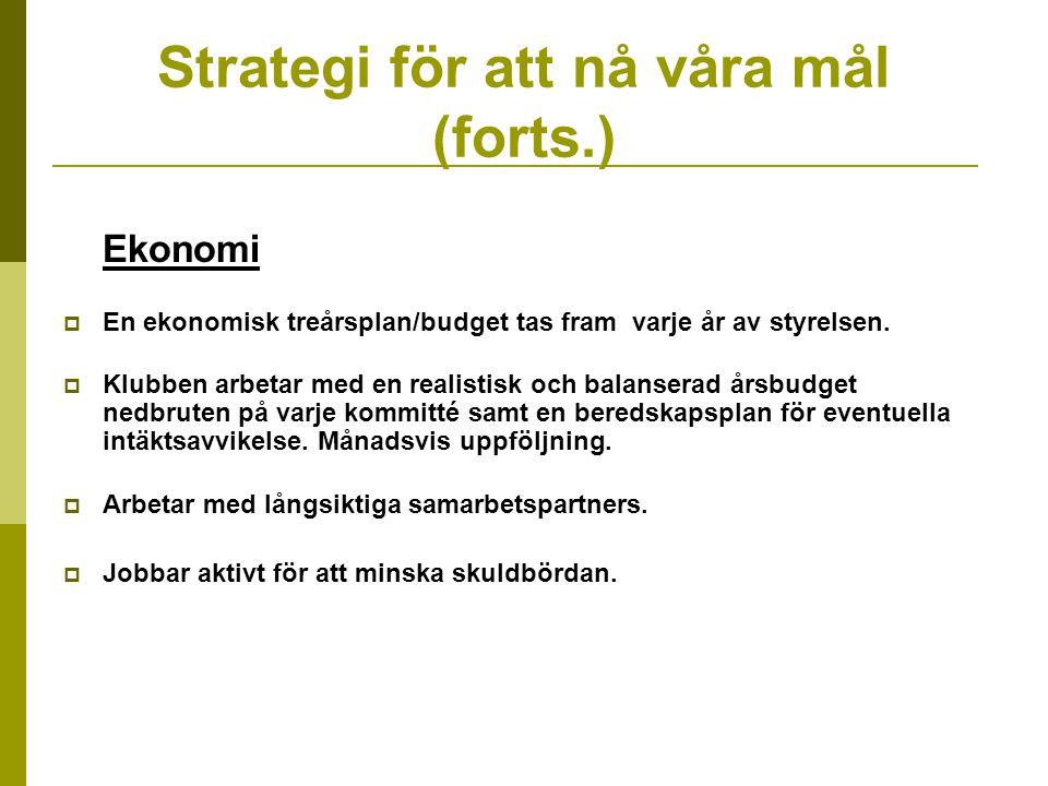 Strategi för att nå våra mål (forts.) Ekonomi  En ekonomisk treårsplan/budget tas fram varje år av styrelsen.