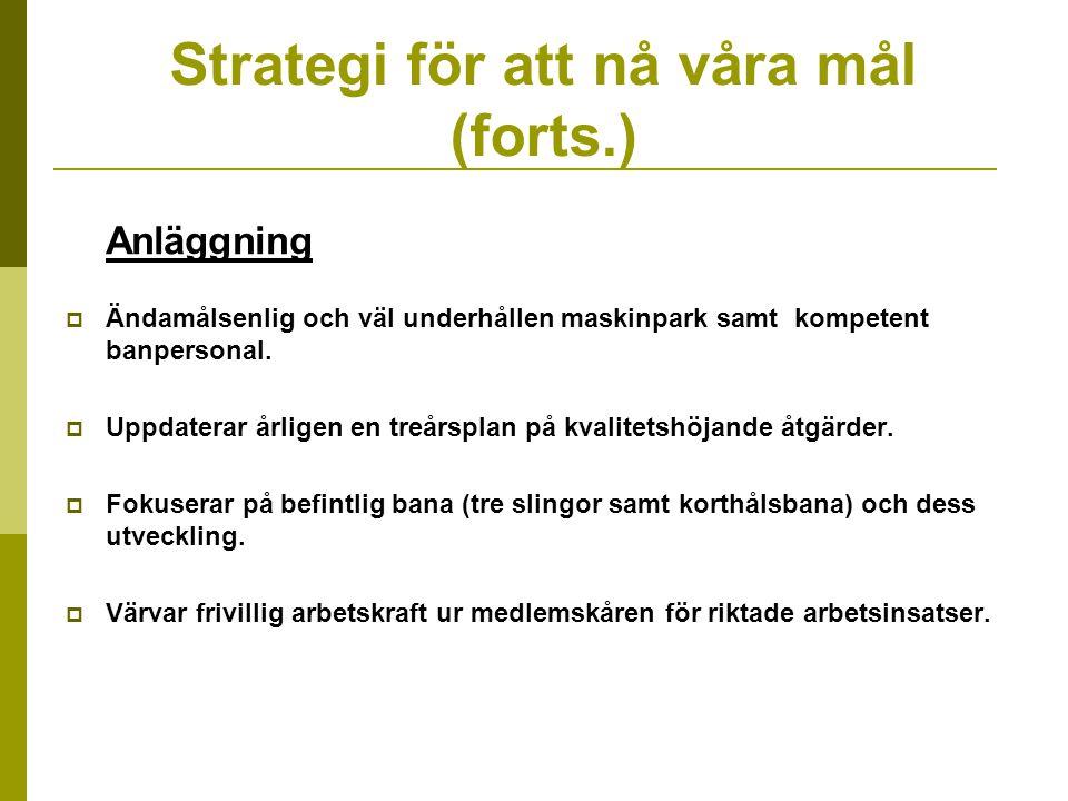 Strategi för att nå våra mål (forts.) Anläggning  Ändamålsenlig och väl underhållen maskinpark samt kompetent banpersonal.