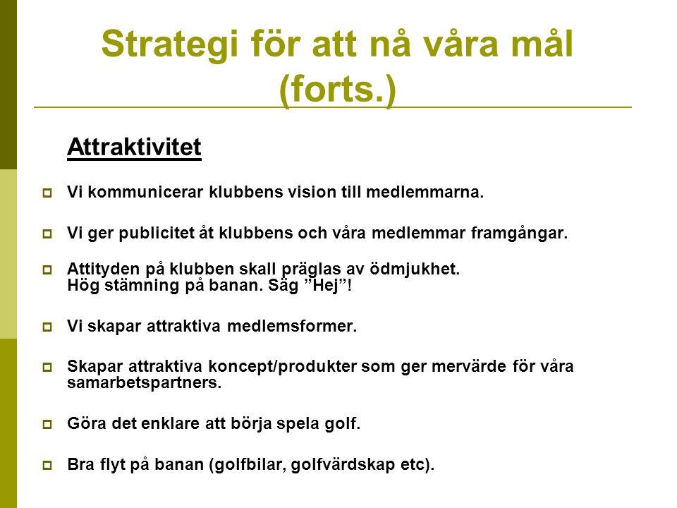 Strategi för att nå våra mål (forts.) Attraktivitet  Vi kommunicerar klubbens vision till medlemmarna.