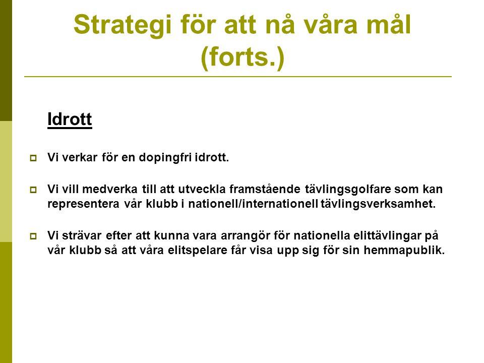 Strategi för att nå våra mål (forts.) Idrott  Vi verkar för en dopingfri idrott.
