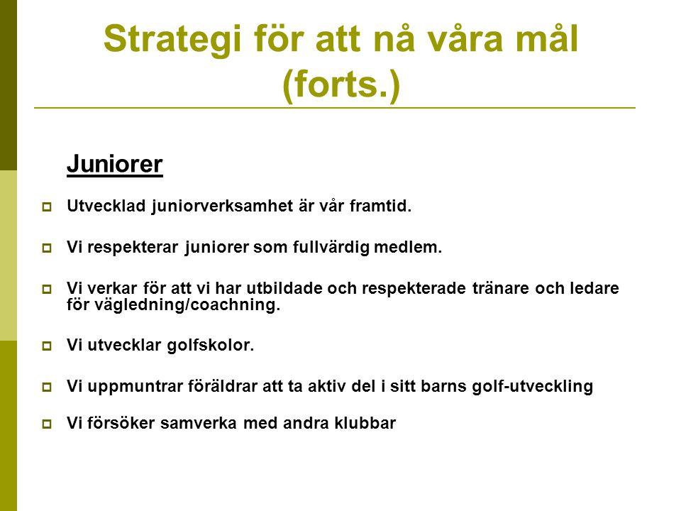Strategi för att nå våra mål (forts.) Juniorer  Utvecklad juniorverksamhet är vår framtid.