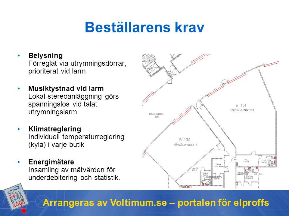 Arrangeras av Voltimum.se – portalen för elproffs Beställarens krav Belysning Förreglat via utrymningsdörrar, prioriterat vid larm Musiktystnad vid la
