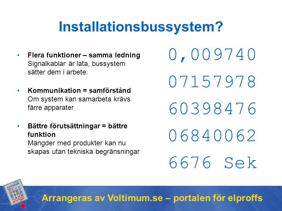 Arrangeras av Voltimum.se – portalen för elproffs Installationsbussystem? Flera funktioner – samma ledning Signalkablar är lata, bussystem sätter dem