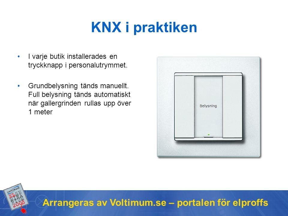 Arrangeras av Voltimum.se – portalen för elproffs KNX i praktiken I varje butik installerades en tryckknapp i personalutrymmet. Grundbelysning tänds m