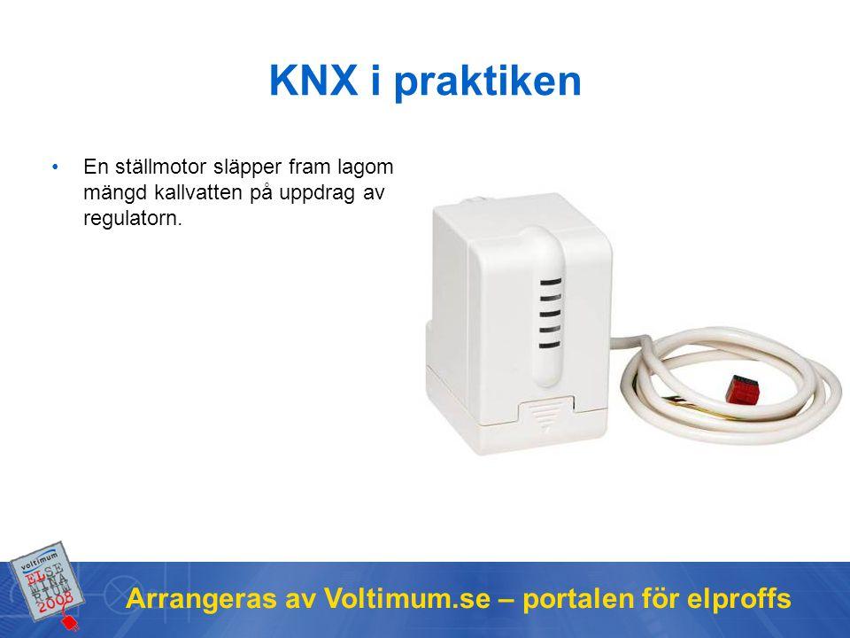 Arrangeras av Voltimum.se – portalen för elproffs KNX i praktiken En ställmotor släpper fram lagom mängd kallvatten på uppdrag av regulatorn.
