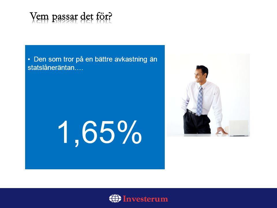 Den som tror på en bättre avkastning än statslåneräntan…. 1,65%