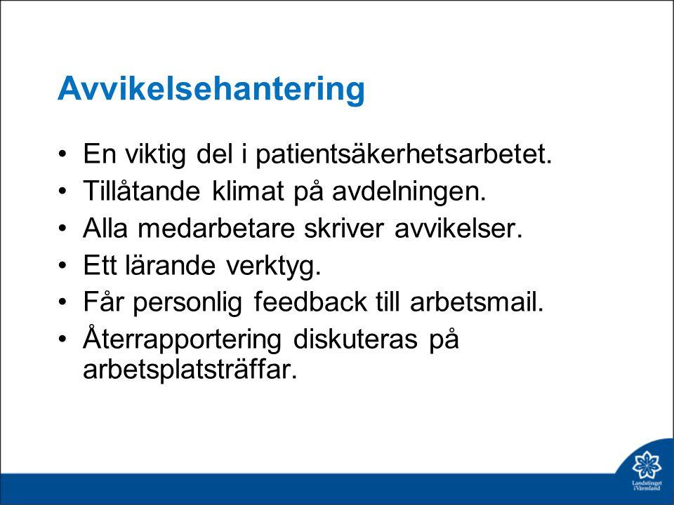 Avvikelsehantering En viktig del i patientsäkerhetsarbetet.