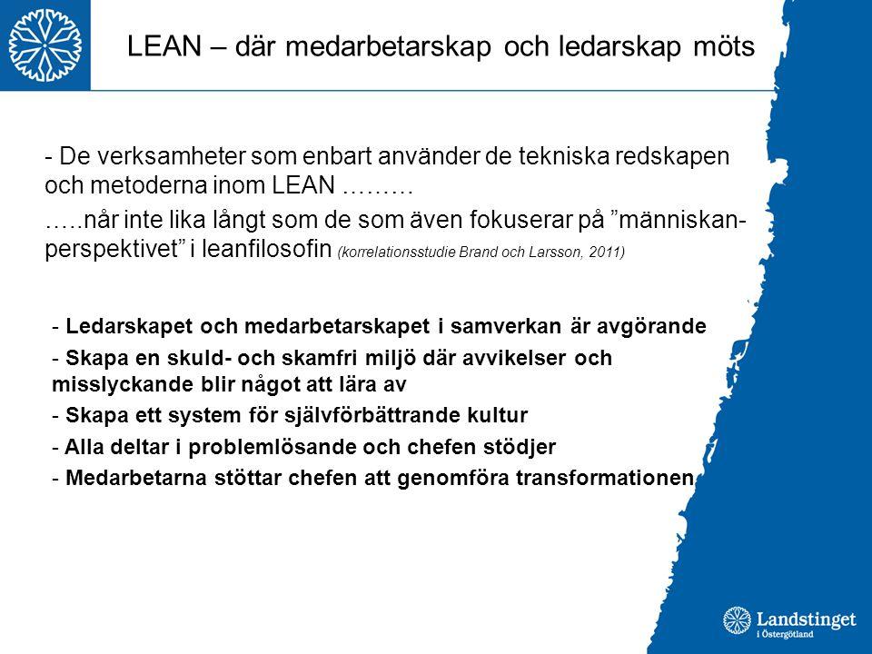 LEAN – där medarbetarskap och ledarskap möts - De verksamheter som enbart använder de tekniska redskapen och metoderna inom LEAN ……… …..når inte lika
