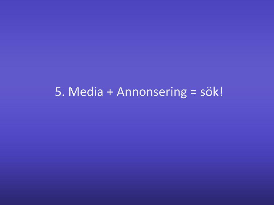 5. Media + Annonsering = sök!