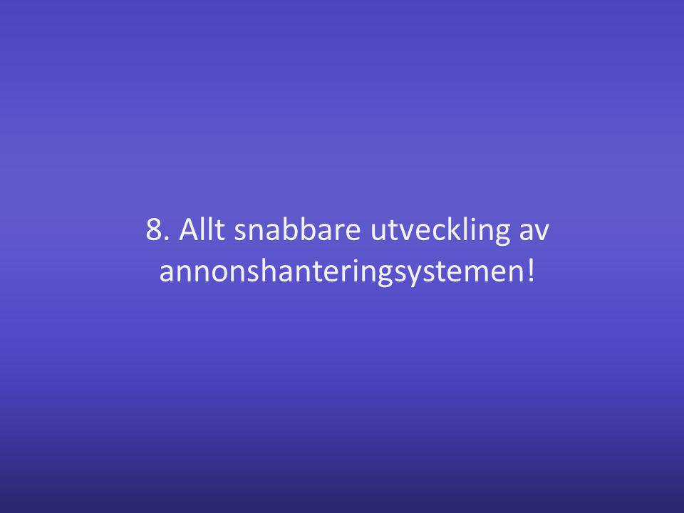 8. Allt snabbare utveckling av annonshanteringsystemen!