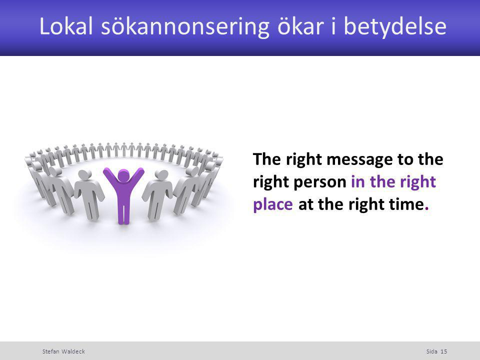 Lokal sökannonsering ökar i betydelse Stefan WaldeckSida 15 The right message to the right person in the right place at the right time.