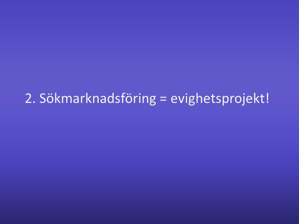 2. Sökmarknadsföring = evighetsprojekt!