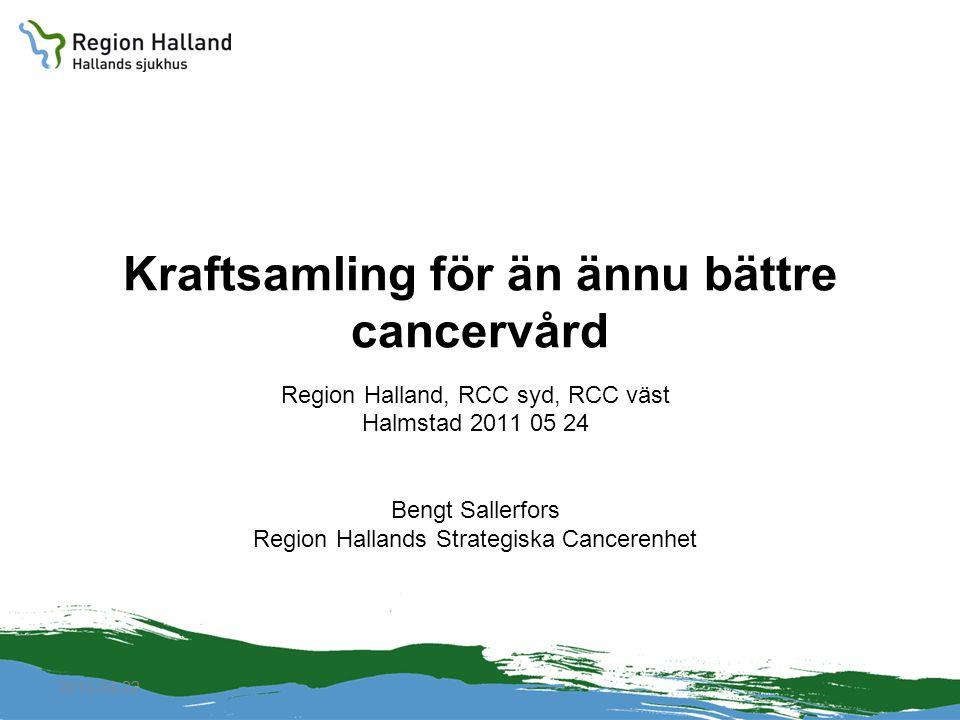 2010-04-22 Kraftsamling för än ännu bättre cancervård Region Halland, RCC syd, RCC väst Halmstad 2011 05 24 Bengt Sallerfors Region Hallands Strategis