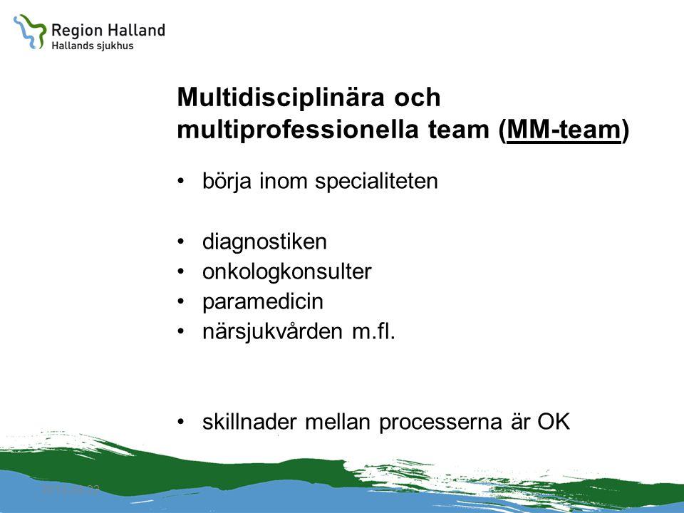2010-04-22 Multidisciplinära och multiprofessionella team (MM-team) börja inom specialiteten diagnostiken onkologkonsulter paramedicin närsjukvården m