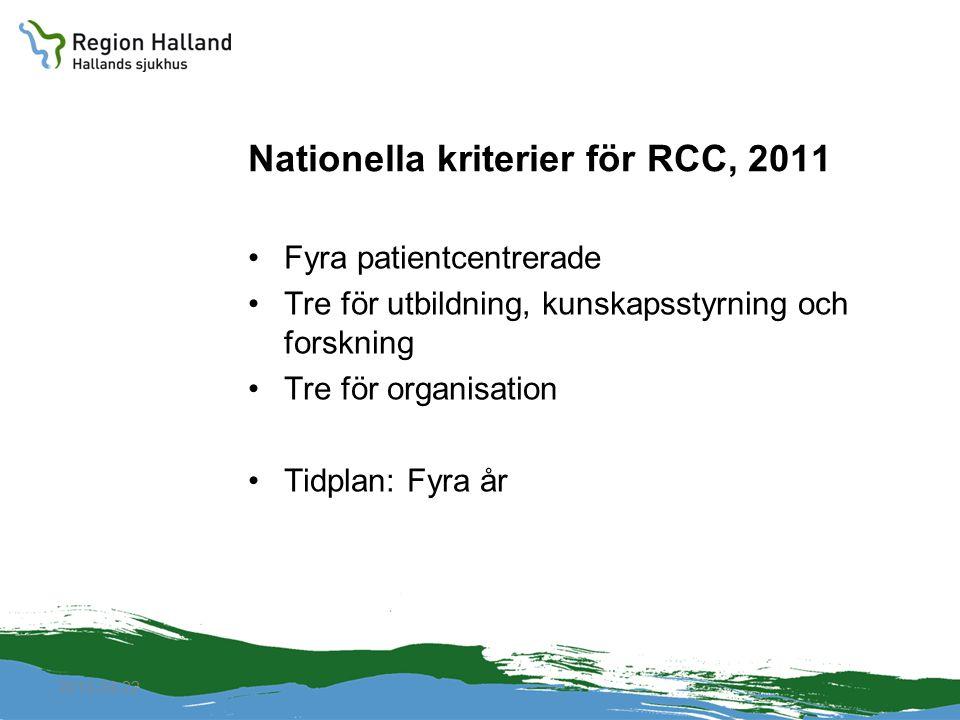 2010-04-22 Nationella kriterier för RCC, 2011 Fyra patientcentrerade Tre för utbildning, kunskapsstyrning och forskning Tre för organisation Tidplan: