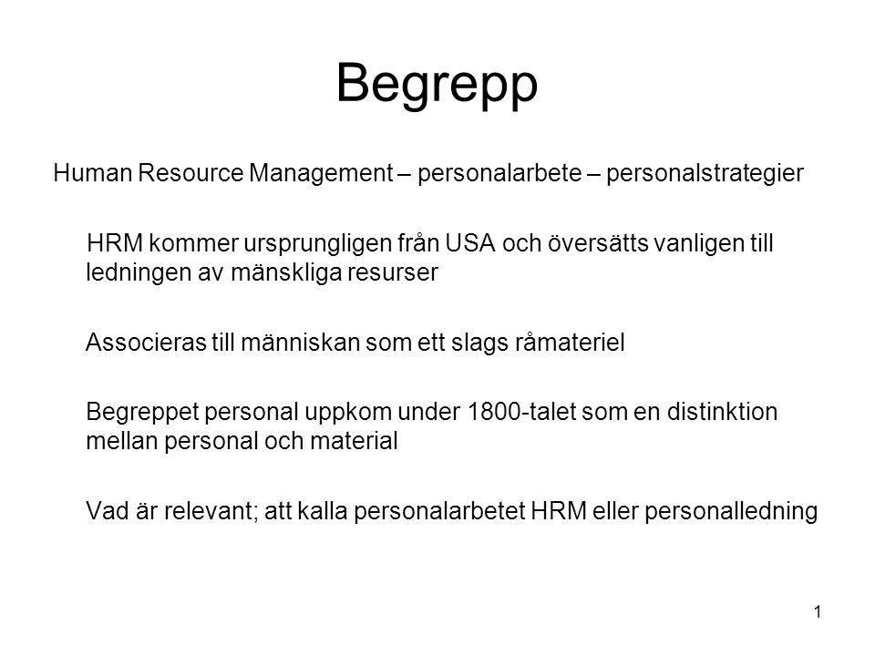 Begrepp Human Resource Management – personalarbete – personalstrategier HRM kommer ursprungligen från USA och översätts vanligen till ledningen av män
