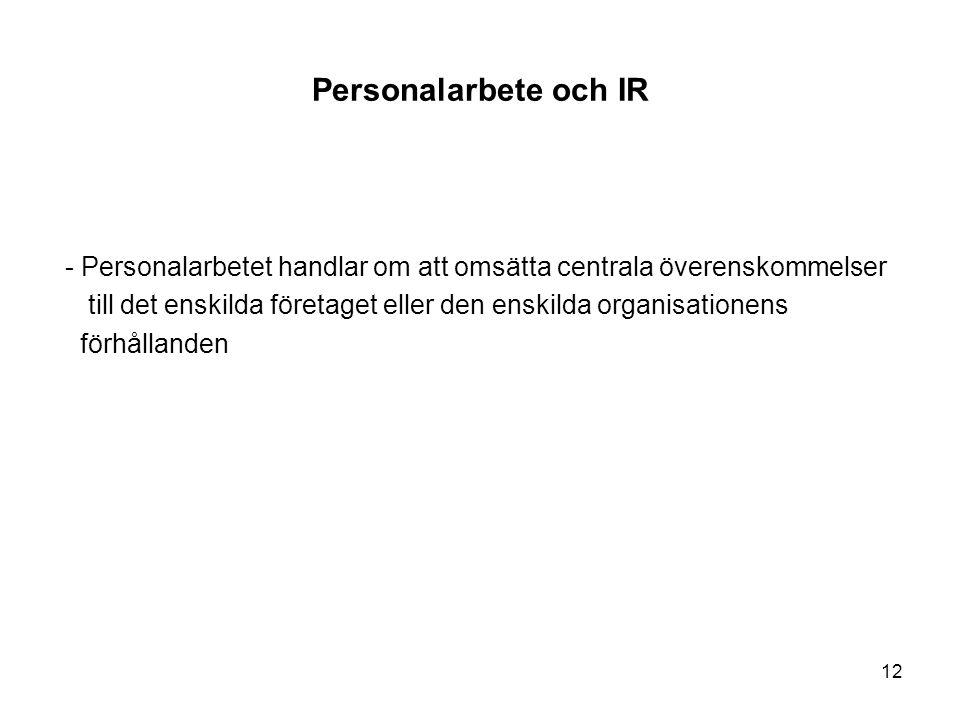 Personalarbete och IR - Personalarbetet handlar om att omsätta centrala överenskommelser till det enskilda företaget eller den enskilda organisationen